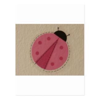 joaninha cor-de-rosa cartão postal