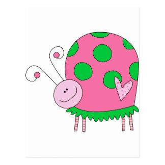 Joaninha cor-de-rosa e verde de Lil formal Cartão Postal