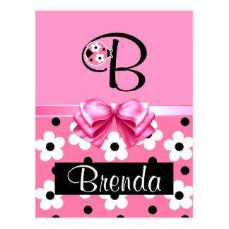 Joaninha cor-de-rosa: Personalize Cartao Postal
