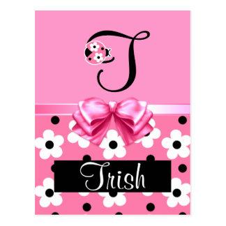 Joaninha cor-de-rosa: Personalize Cartão Postal