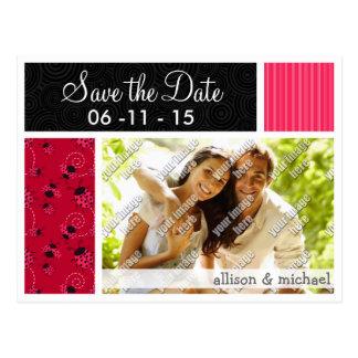 Joaninha cor-de-rosa & preto cartão postal