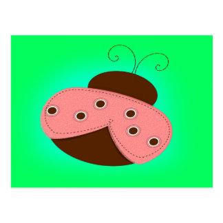 Joaninha do rosa e do chocolate cartoes postais