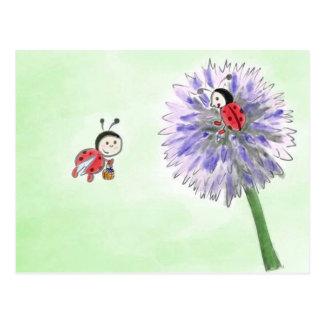Joaninha flores cartão postal gruss