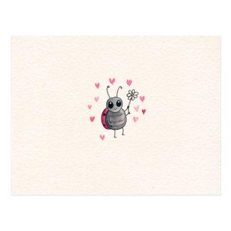 Joaninha pequena bonito ou joaninha com margarida cartão postal