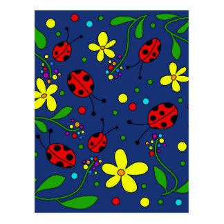 Joaninhas - azul cartão postal