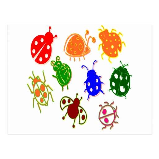 Joaninhas - coloridos cartao postal