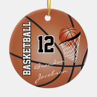 Jogador de basquetebol da estrela da assinatura ornamento de cerâmica redondo