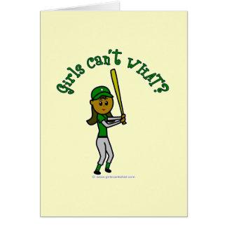 Jogador de beisebol verde escuro cartão comemorativo