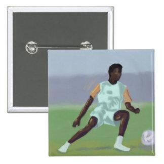 Jogador de futebol, botão bóton quadrado 5.08cm