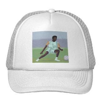 Jogador de futebol, chapéu boné