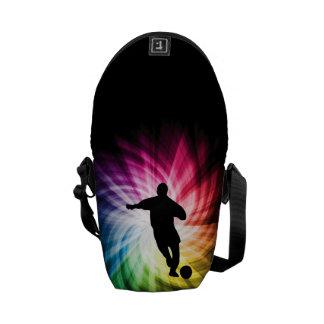 Jogador de futebol; colorido bolsas mensageiro