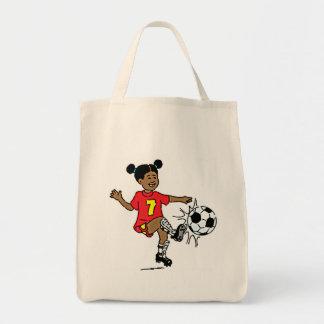 Jogador de futebol da menina bolsa de lona