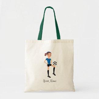 Jogador de futebol da menina personalizado bolsa de lona