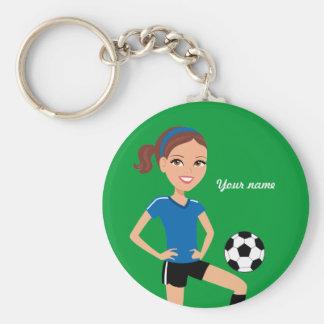Jogador de futebol da menina personalizado chaveiros