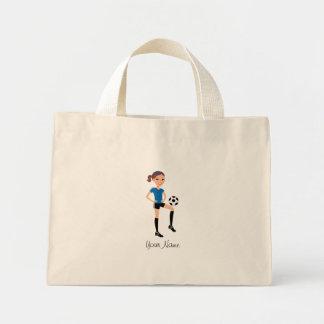 Jogador de futebol da menina personalizado sacola tote mini