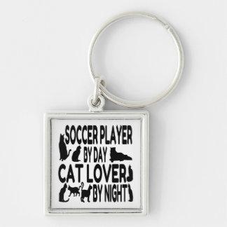 Jogador de futebol do amante do gato chaveiro quadrado na cor prata