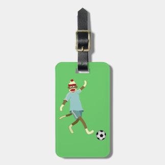 Jogador de futebol do macaco da peúga etiquetas de bagagens