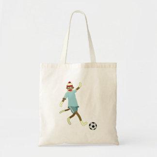 Jogador de futebol do macaco da peúga sacola tote budget