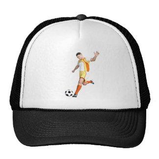 Jogador de futebol em alaranjado, em amarelo, e o boné