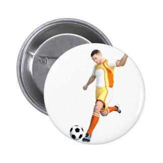 Jogador de futebol em alaranjado, em amarelo, e o bóton redondo 5.08cm