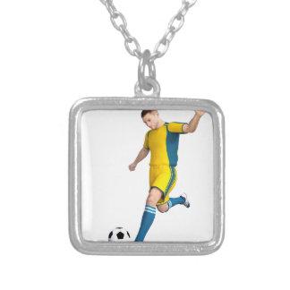 Jogador de futebol no amarelo e no Aqua Colar Com Pendente Quadrado