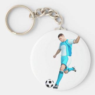 Jogador de futebol no Aqua e no branco Chaveiro