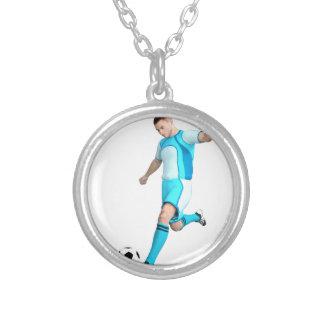 Jogador de futebol no Aqua e no branco Colar Com Pendente Redondo