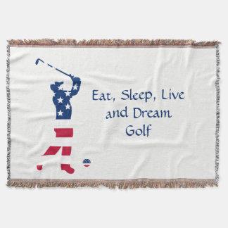 Jogador de golfe da bandeira americana do golfe manta