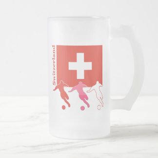 Jogadores de futebol - suiça caneca de cerveja vidro jateado