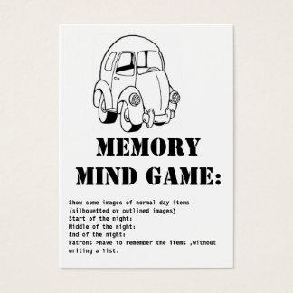 jogo-car da mente da memória cartão de visitas