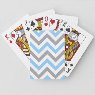 Jogo De Baralho Azul-céu, teste padrão de ziguezague branco