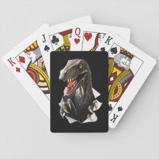 Jogo De Baralho Cartões de jogo do dinossauro do Velociraptor