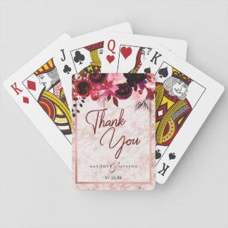 Jogo De Baralho Obrigado cor-de-rosa floral do casamento do