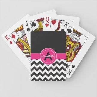 Jogo De Carta Chevron cor-de-rosa preto