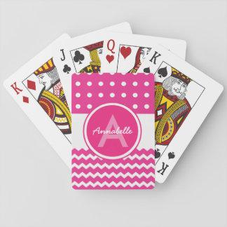 Jogo De Carta Monograma branco cor-de-rosa de Chevron