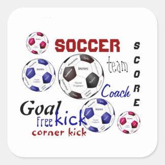 Jogo de futebol inspirador, palavras dos esportes adesivo quadrado