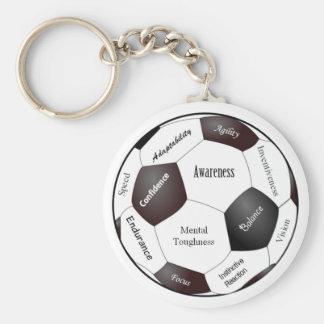 Jogo de futebol inspirador, palavras dos esportes chaveiro