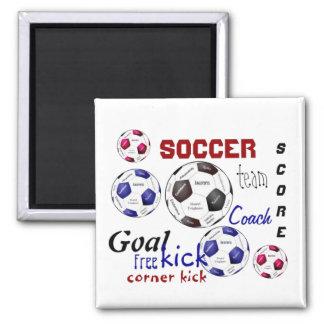 Jogo de futebol inspirador, palavras dos esportes ímã quadrado