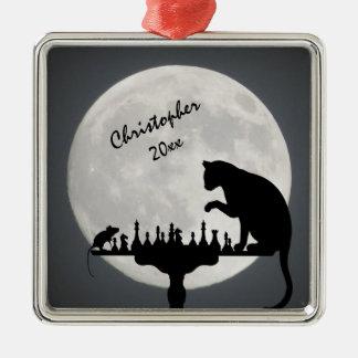 Jogo personalizado do gato e do rato da Lua cheia Ornamento Quadrado Cor Prata