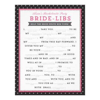 Jogo preto & cor-de-rosa dos liberais da noiva panfleto personalizados