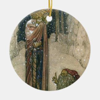 John Bauer - princesa e troll Ornamento De Cerâmica Redondo