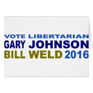 Johnson-Solda 2016 do libertário do voto Cartão Comemorativo