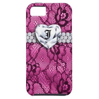 Jóia do coração do monograma do rosa da flor do capa tough para iPhone 5