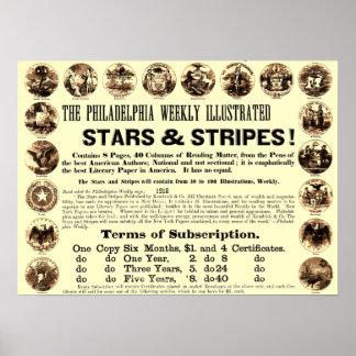 Jornal semanal de 1918 estrelas & de listras de Ph Pôster
