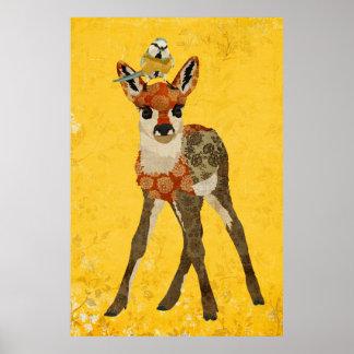 Jovem corça floral & poster pequeno da arte do