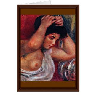 Jovem mulher no cabeleireiro por Pierre-Auguste Cartão Comemorativo
