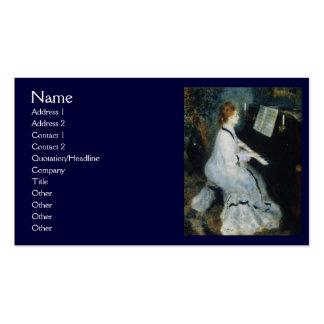 Jovem mulher no piano por Renoir Modelo Cartoes De Visitas