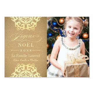 Joyeux Noël Carte-Photo | Papier Kraft et Or Convite 12.7 X 17.78cm