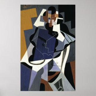 Juan Gris assentou as belas artes 1917 da mulher Poster