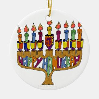 Judaica Hanukkah feliz Dreidel Menorah Ornamento De Cerâmica Redondo